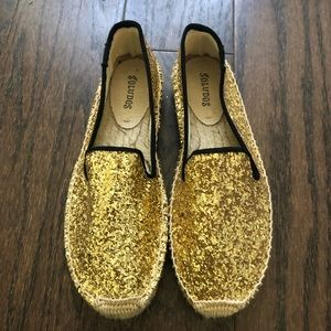 Soludos Gold Sparkly Espadrilles